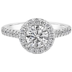 GIA Certified 1.00 Carat Round Diamond Halo Engagement Ring