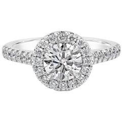 Roman Malakov GIA Certified 1.00 Carat Round Diamond Halo Engagement Ring