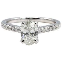 GIA Certified 1.00 H VS2 Oval Diamond 14 Karat White Gold Engagement Ring