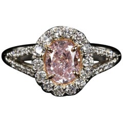 GIA Certified 100% Natural Rare 1.50 Carat Fancy Pink Oval Diamond Ring