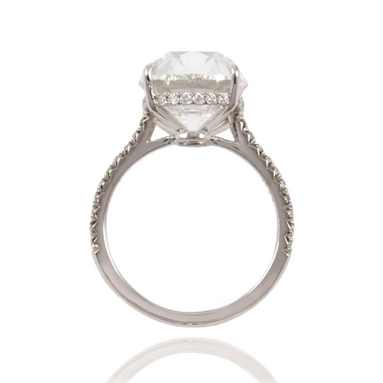 Women's or Men's J. Birnbach GIA Certified 10.01 Carat Cushion Cut E VS2 Diamond Ring For Sale