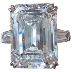 GIA Certified 10.01 Carat Emerald Cut Diamond Ring J VS1 Triple Excellent