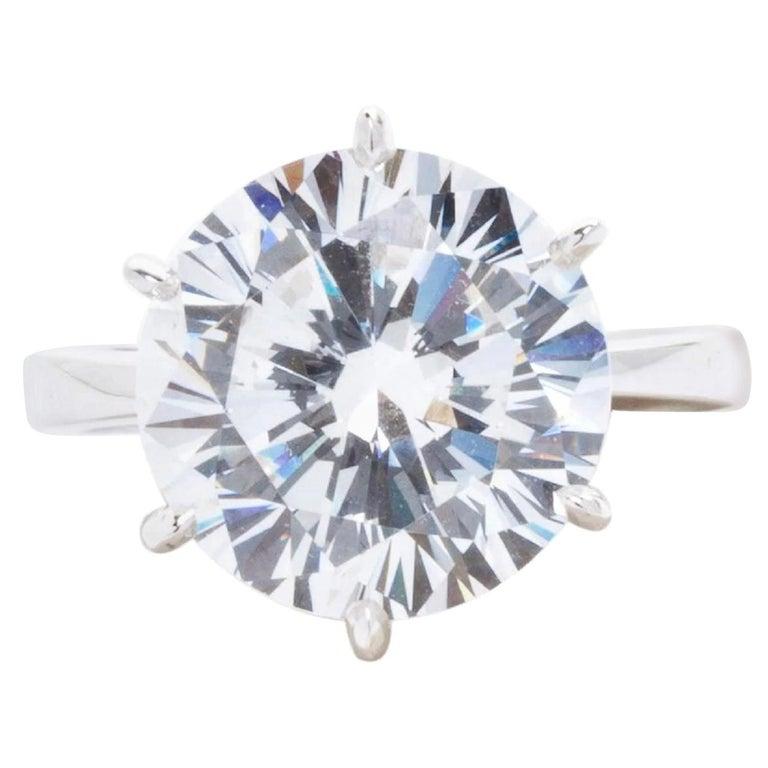 GIA Certified 6 Carat Round Brilliant Cut Diamond Platinum Solitaire Ring  For Sale