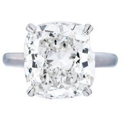 GIA Certified 10.01 Carat H/VS2 Cushion Cut Diamond Engagement Ring