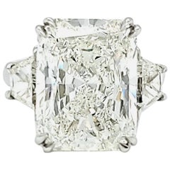 GIA Certified 10.01 Carat Radiant Cut Three-Stone Ring