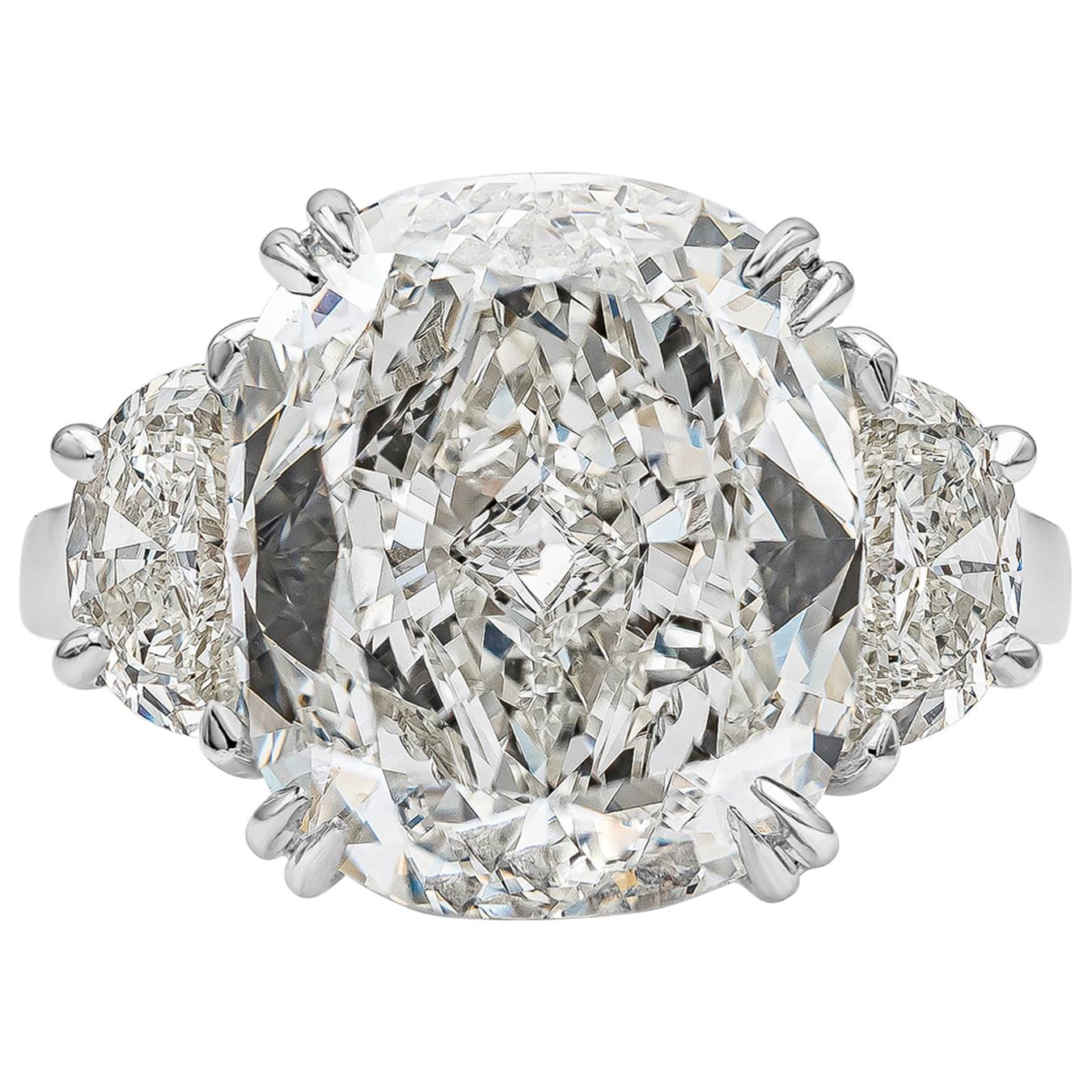 GIA Certified 10.02 Carat Cushion Cut Diamond Three-Stone Engagement Ring