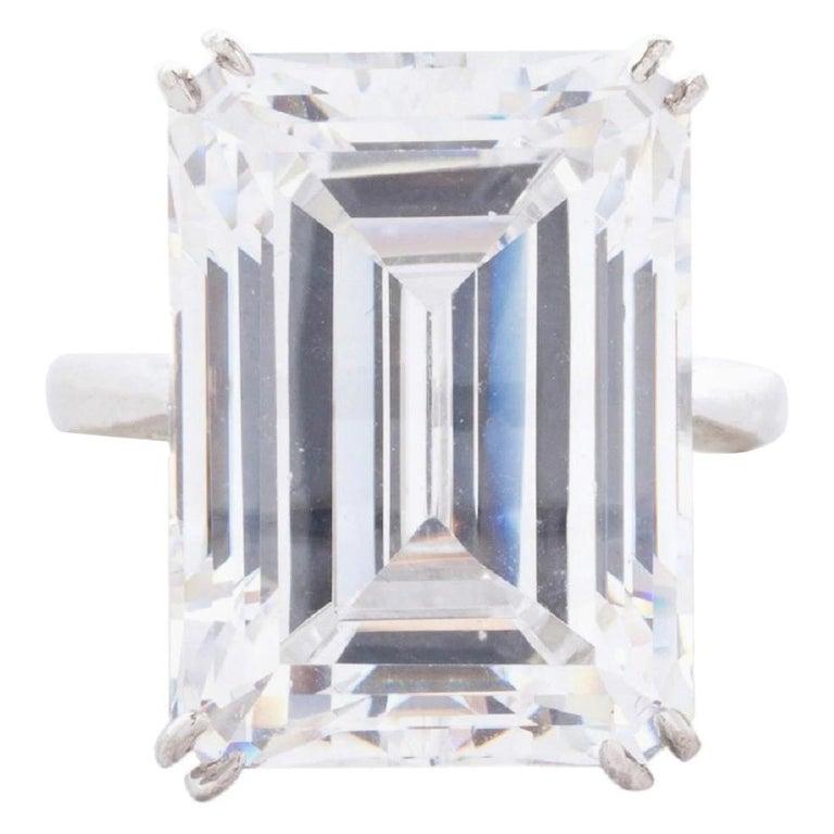 GIA Certified 7 Carat Emerald Cut Diamond Ring F Color VS2 For Sale