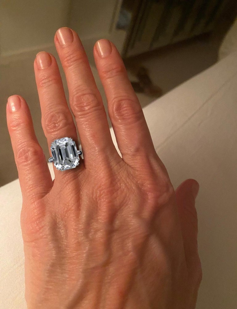 Modern GIA Certified 10.02 Carat Emerald Cut Diamond Ring For Sale