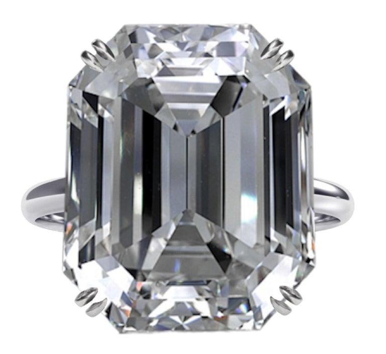 Women's or Men's GIA Certified 10.02 Carat Emerald Cut Diamond Ring For Sale