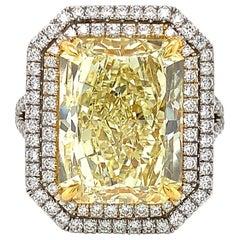 GIA Certified 10.02 Carat Fancy Yellow Rectangular Cut Diamond Ring