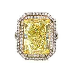 GIA Certified 10.02 Carat Yellow Rectangular Cut Diamond Ring