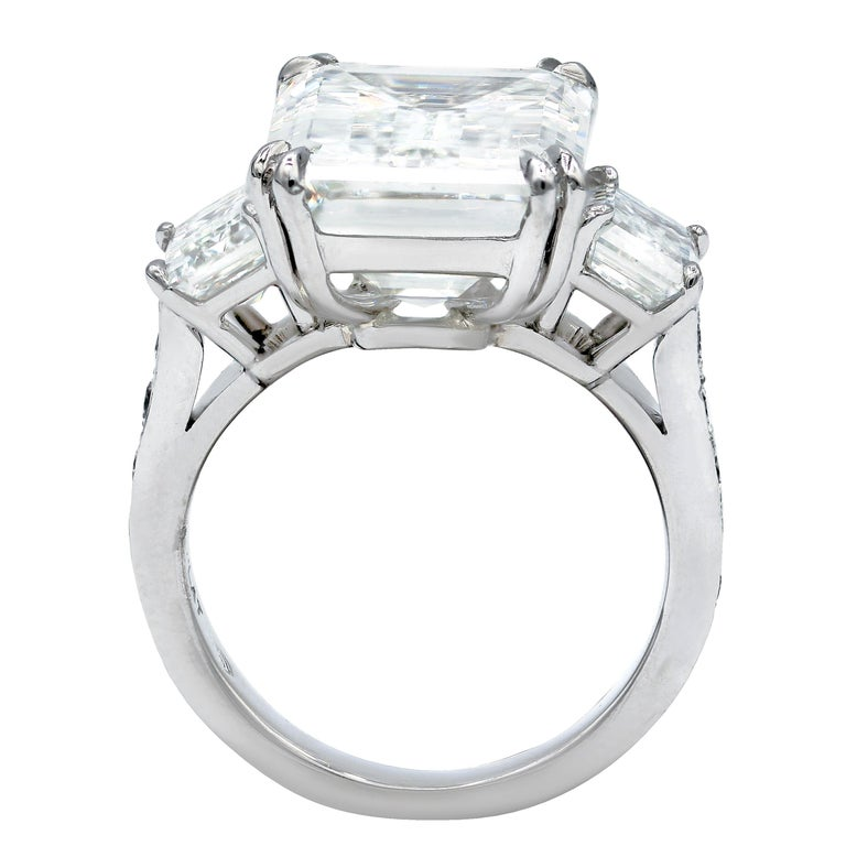 Platinum Emerald Cut Diamond Ring, Features Gia Certified 10.02 Ct I-Vs2 (Emc497) Emerald Cut Diamond Set With Two GIA Certified Emerald Cut Diamonds 1.16ct J-VVS1 (Emc495) And 1.16ct J-VVS1 (Emc496) 1.00ct Total On A Side. (Size 6)