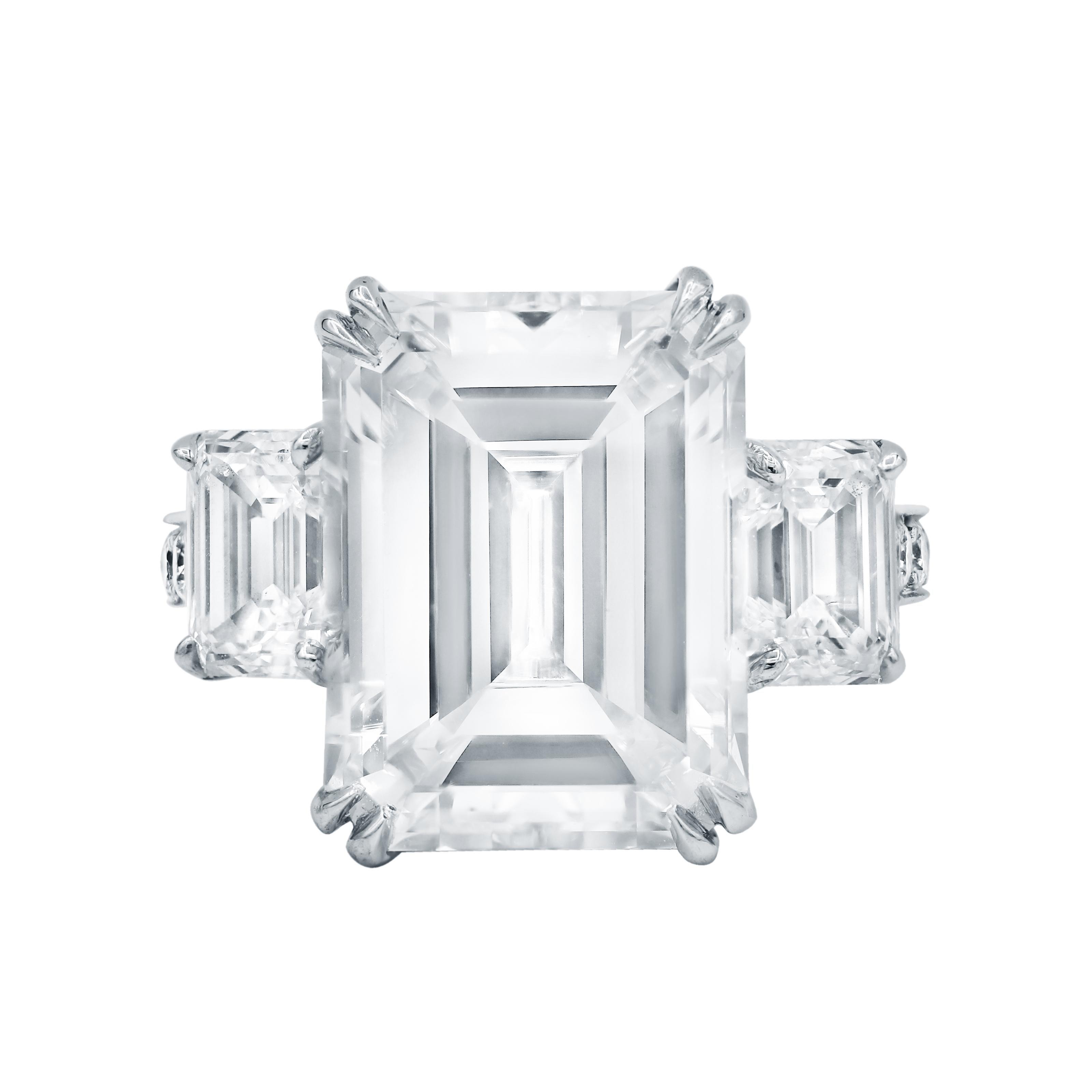 GIA Certified 10.02 Carat Emerald Cut Diamond Ring