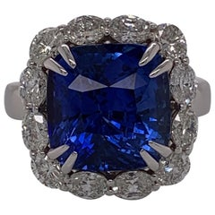 GIA Certified 10.03 Carat Blue Sapphire and Diamond Halo Ring