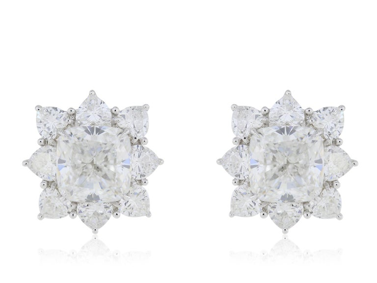 GIA Certified 10.03 Carat Cushion Diamond Earrings In New Condition For Sale In Chestnut Hill, MA