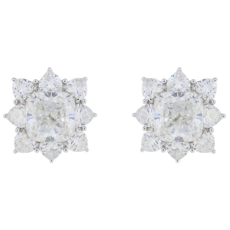GIA Certified 10.03 Carat Cushion Diamond Earrings For Sale