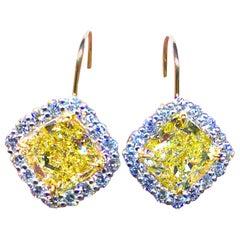 GIA Certified 10.03 Carat Fancy Yellow Diamond Cushion Cut Drop Earrings