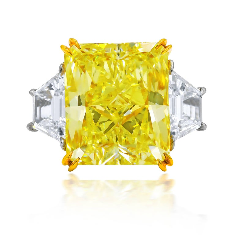GIA Certified 10.03 Carat Fancy Yellow Radiant Cut Diamond Ring