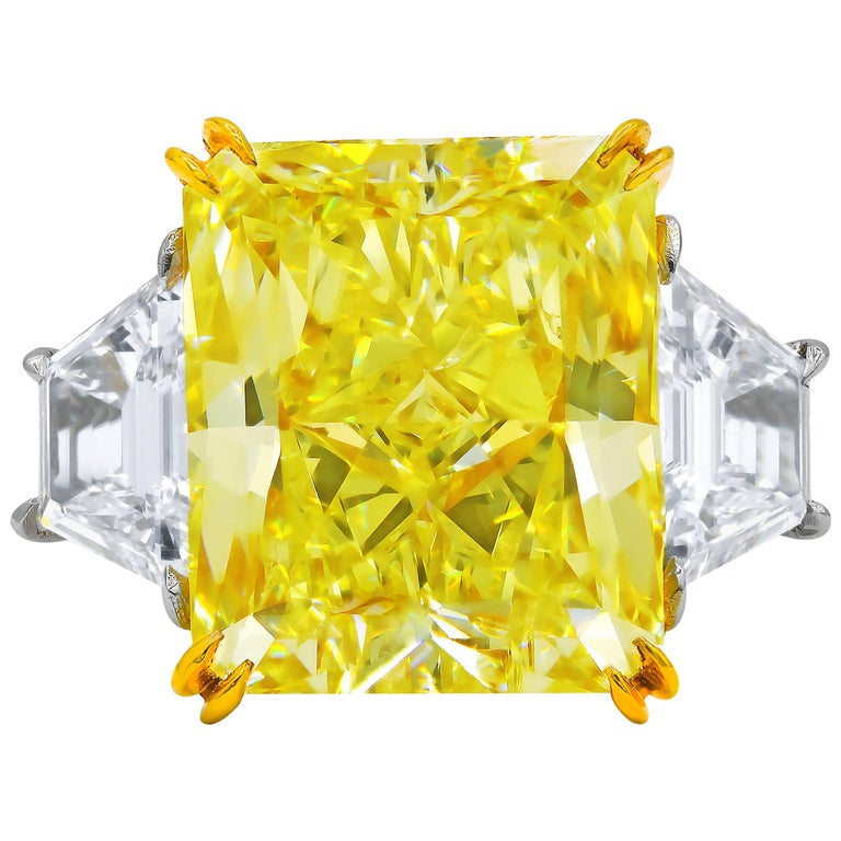 GIA Certified 10.03 Carat Fancy Yellow Radiant Cut Engagement Ring For Sale