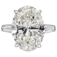 GIA Certified 10.03 Carat Oval Cut Diamond Three-Stone Engagement Ring