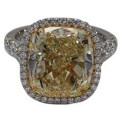 GIA Certified 10.04 Carat Fancy Yellow VS2 Cushion Cut Halo Platinum Ring