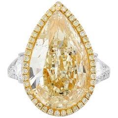 GIA certified 10.04 Carat Pear-Shape Fancy Light Yellow Diamond 18 Karat Gold