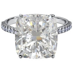GIA Certified 8.09 Carat Cushion Cut Diamond Ring VS1 Clarity F Color