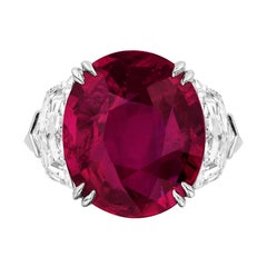 GIA Certified 10.07 Carat Mozambque Ruby Diamond Cocktail Ring