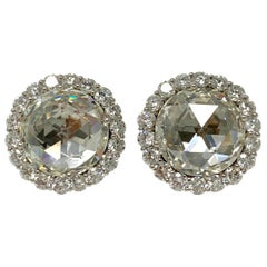 GIA Certified 10.07 Carat Rose Cut Diamond Earrings Studs