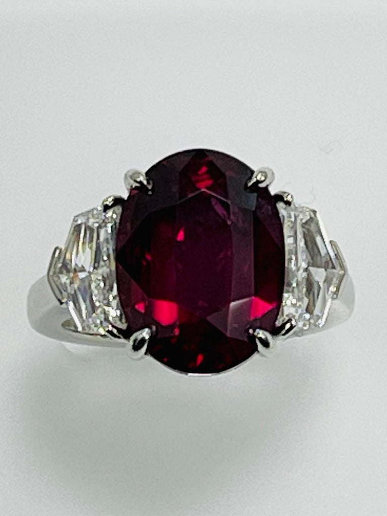 Oval Cut GIA Certified 10.07 Carat Ruby Diamond Three Stone Ring For Sale