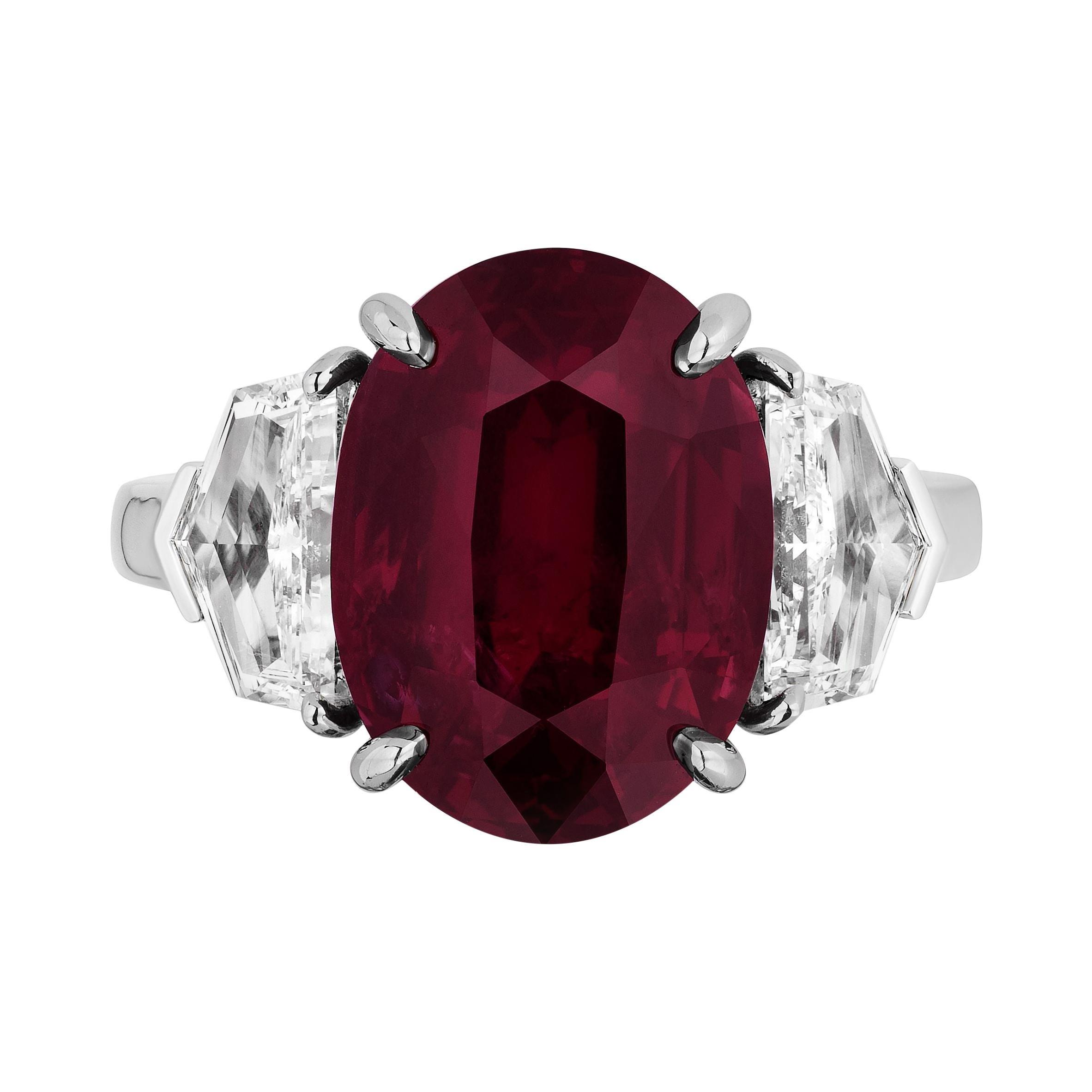 GIA Certified 10.07 Carat Ruby Diamond Three Stone Ring