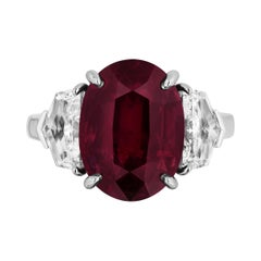 GIA Certified 10.07 Carat Ruby Diamond Three Stone Ring