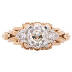 GIA Certified 1.01 Carat Art Deco Diamond 14 Karat Yellow Gold Engagement Ring
