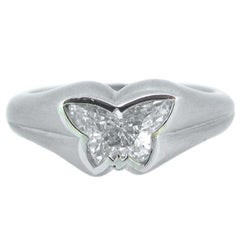 GIA Certified 1.01 carat Butterfly Cut Platinum Hancocks Fashion Solitaire Ring