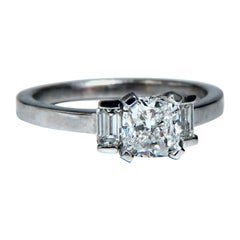 GIA Certified 1.01 Carat Cushion Cut Diamond Ring Platinum F/VS