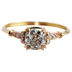 GIA Certified 1.01 Carat Cushion Diamond 18 Karat Rose Gold Newdwardian Ring