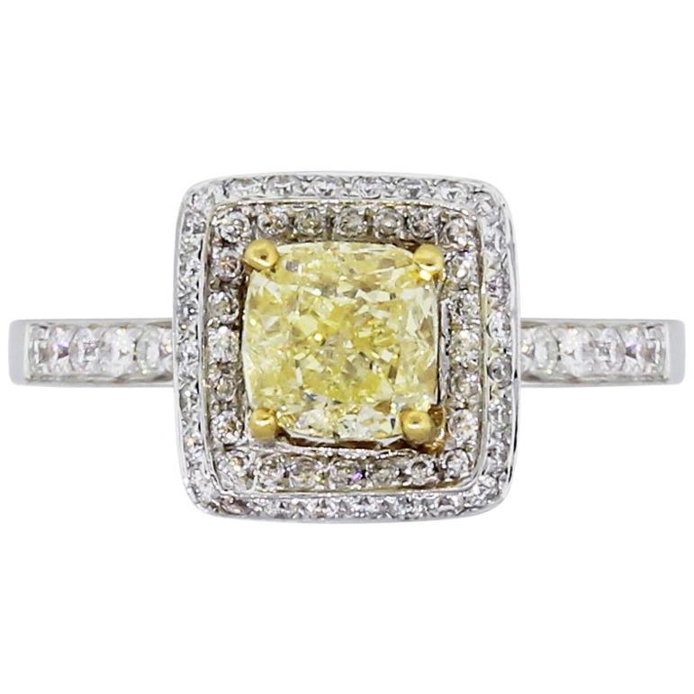 GIA Certified 1.01 Carat Diamond Halo Engagement Ring