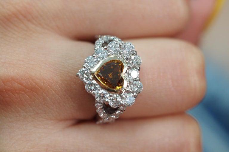 Art Deco GIA Certified 1.01 Carat Diamond Heart Platinum Ring