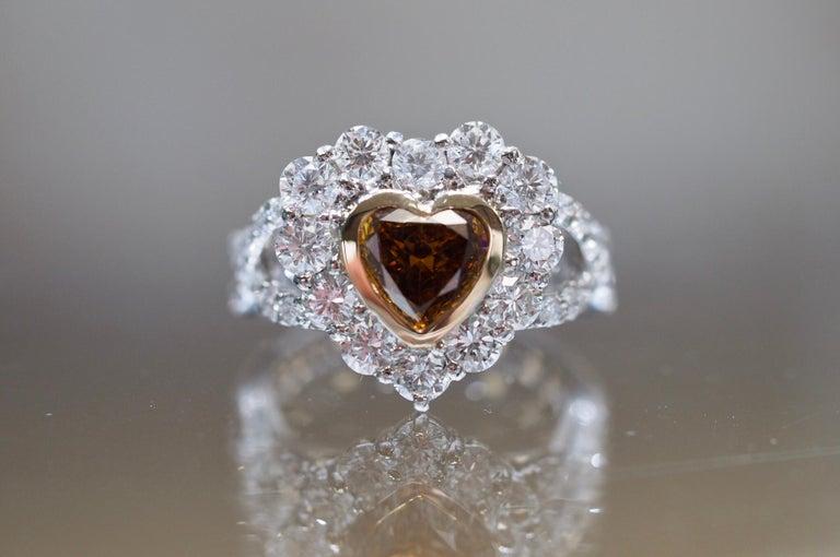 Women's or Men's GIA Certified 1.01 Carat Diamond Heart Platinum Ring