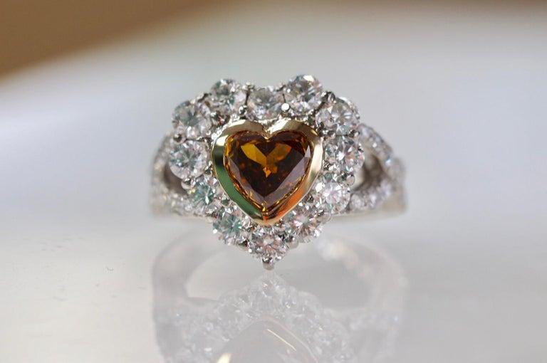 GIA Certified 1.01 Carat Diamond Heart Platinum Ring 2