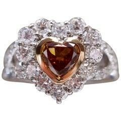 GIA Certified 1.01 Carat Diamond Heart Platinum Ring