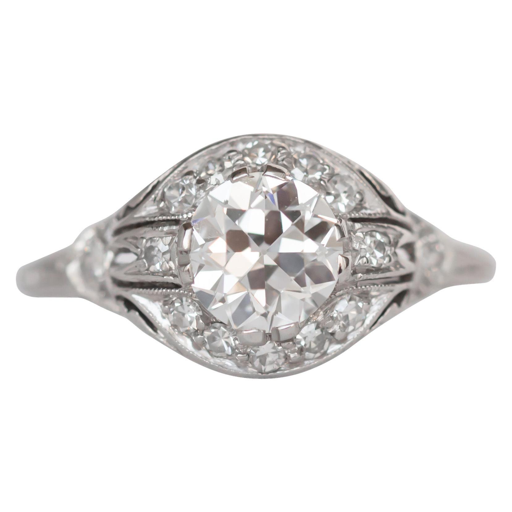 GIA Certified 1.01 Carat Diamond Platinum Engagement Ring