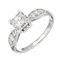 GIA Certified 1.01 Carat Diamond White Gold Engagement Ring