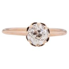 GIA Certified 1.01 Carat Edwardian Diamond 14 Karat Yellow Gold Engagement Ring