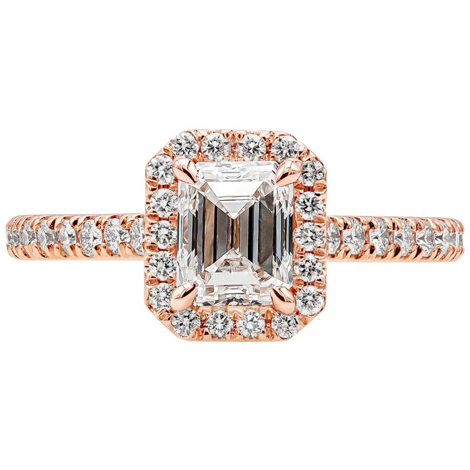 GIA Certified 1.01 Carat Emerald Cut Diamond Halo Engagement Ring