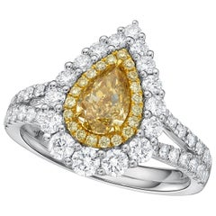 KAHN GIA Certified 1.01 Carat Fancy Brownish Yellow Diamond Ring