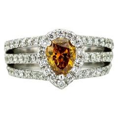 1.01 Carat 18k Gold GIA Certified Natural Fancy Orange Diamond Engagement Ring