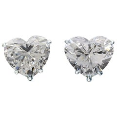 GIA Certified 1.01 Carat Heart Cut Diamond White Gold Studs Earrings D Color VVS