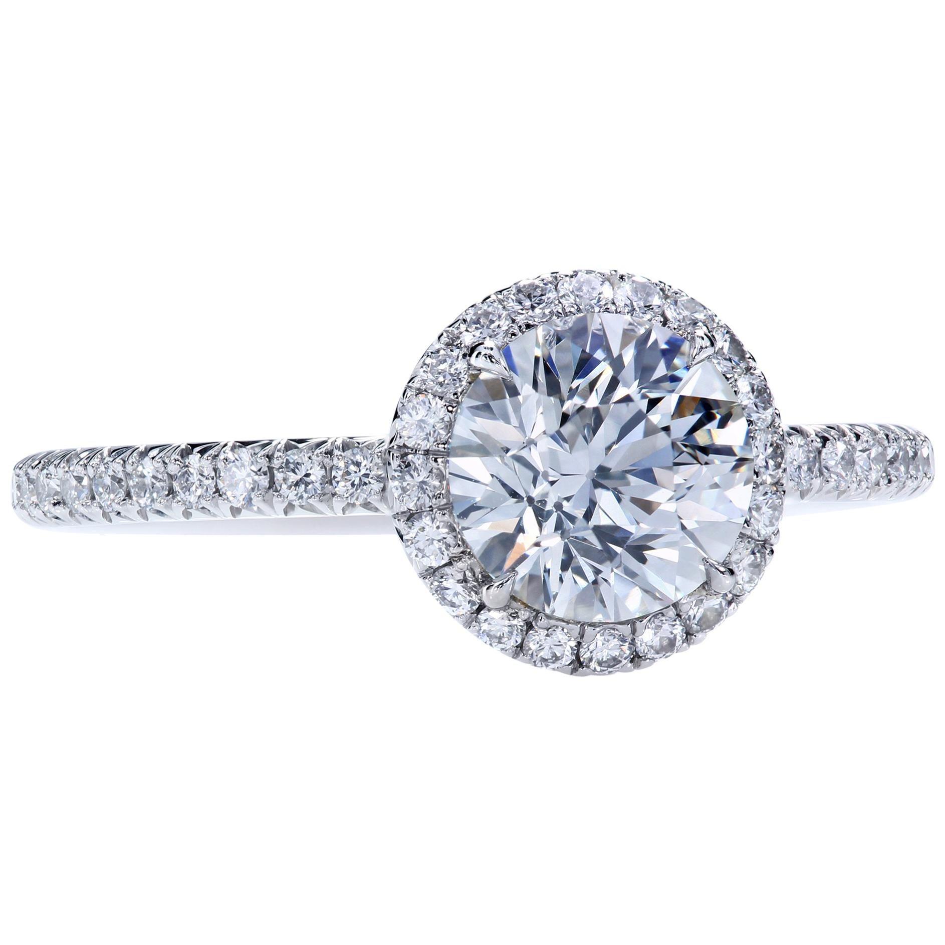 GIA Certified 1.01 Carat J/VS1 Round Diamond Platinum Engagement Halo Ring