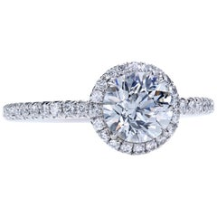 GIA Certified 1.01 Carat J/VS1 Round Diamond Engagement Halo Ring in Platinum